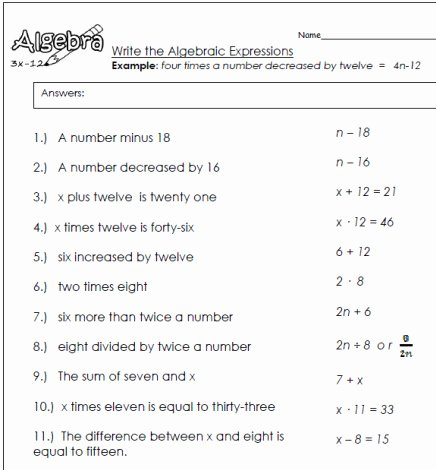 Translating Algebraic Expressions Worksheet Luxury Translating Algebraic Expressions Worksheets Algebra