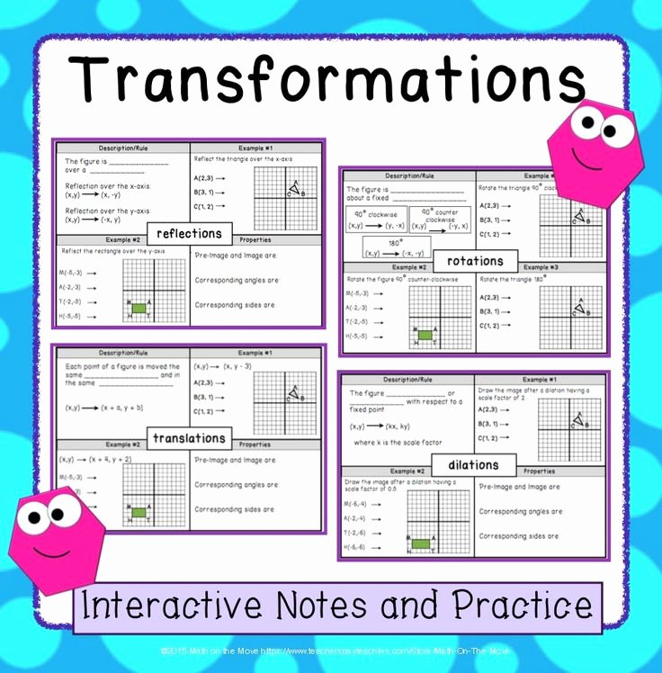 Translation Rotation Reflection Worksheet Beautiful Translation Reflection Rotation Dilation Worksheets
