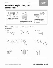 Translation Rotation Reflection Worksheet Luxury Rotations Reflections and Translations Reteach 17 2