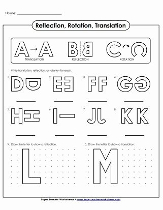 Translation Rotation Reflection Worksheet Luxury Translate Reflection Rotation Alphabet