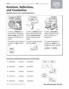 Translations Reflections and Rotations Worksheet Awesome Rotations Reflections and Translations English Learners