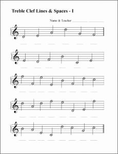 Treble Clef Note Worksheet Beautiful Music Worksheets for Free Spaces Lines Treble