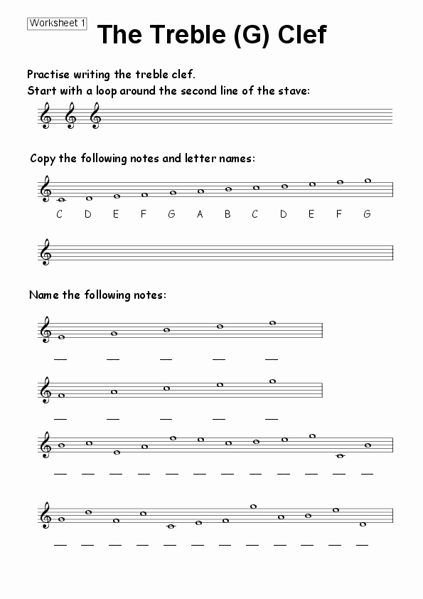 Treble Clef Note Worksheet Beautiful Worksheet 01 the Treble G Clef for Worksheets by Kevin