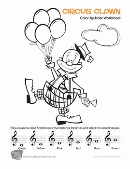 Treble Clef Note Worksheet Best Of Color by Note