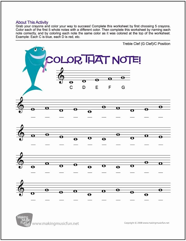 Treble Clef Note Worksheet Best Of Color that Note