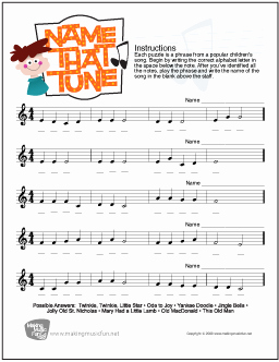 Treble Clef Note Worksheet Best Of Name that Tune