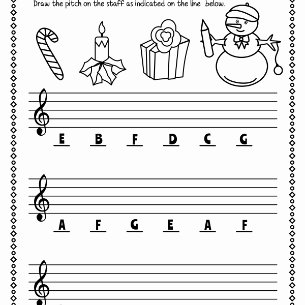 Treble Clef Note Worksheet Elegant Christmas Treble Clef Note Reading Worksheets Anastasiya