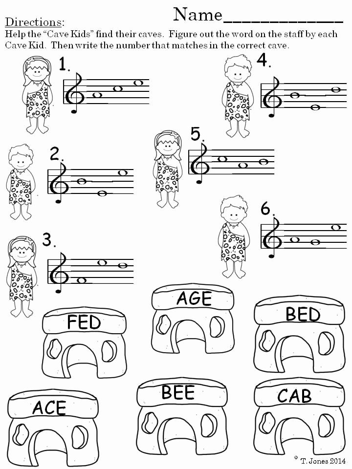 Treble Clef Note Worksheet Elegant Music Worksheets Treble Clef Prehistoric Note Reading
