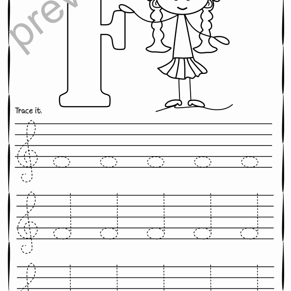 Treble Clef Note Worksheet Elegant Tracing Music Notes Worksheets for Kids Treble Clef