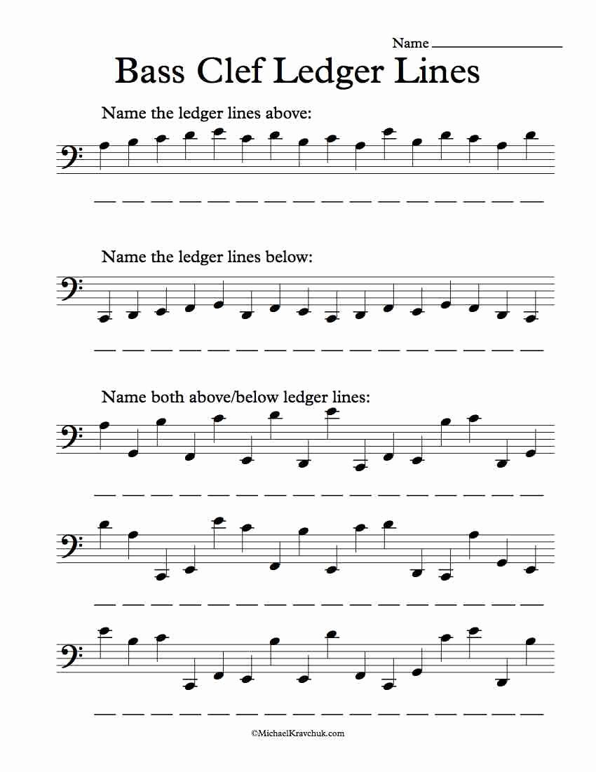Treble Clef Note Worksheet Inspirational Bass Clef Ledger Lines Ly – Note Recognition Worksheet
