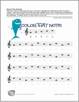 Treble Clef Note Worksheet New Color that Note