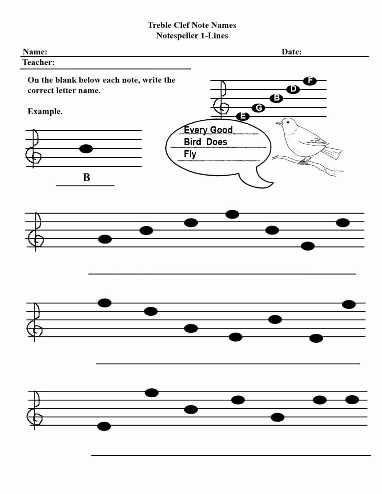 Treble Clef Note Worksheet Unique Treble Clef Note Names Worksheet the Best Worksheets Image