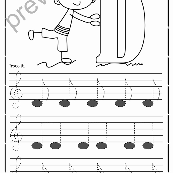 Treble Clef Notes Worksheet Beautiful Tracing Music Notes Worksheets for Kids Treble Clef