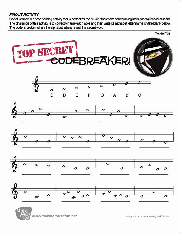 Treble Clef Notes Worksheet Elegant Codebreaker