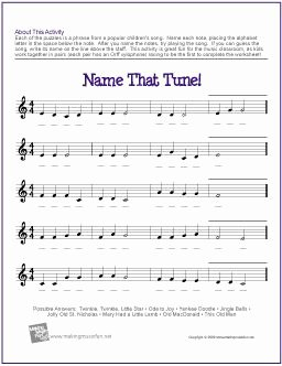 Treble Clef Notes Worksheet Fresh Name that Tune Treble Clef Note Name Worksheet