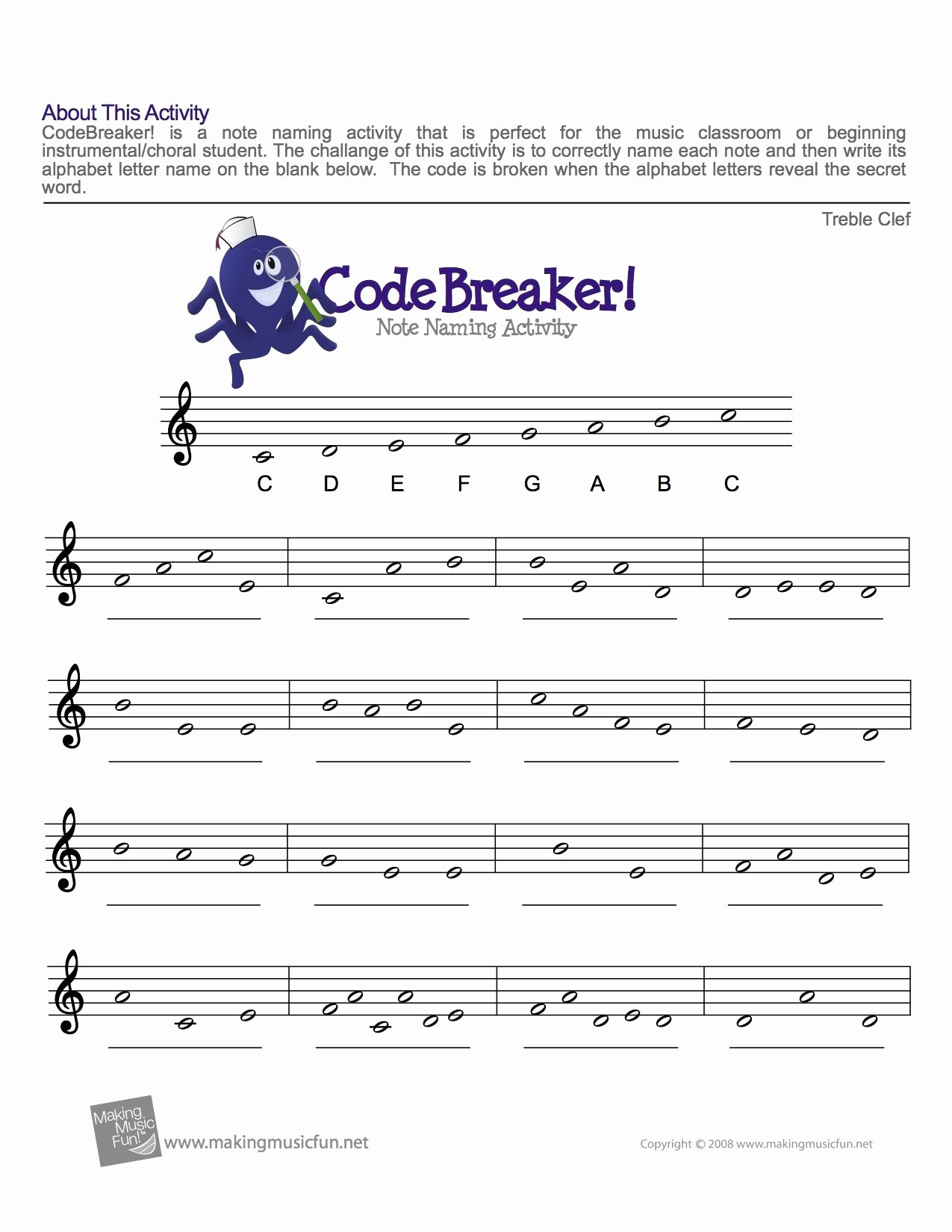 Treble Clef Notes Worksheet Inspirational Treble Clef Fun Note Reading