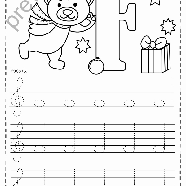 Treble Clef Notes Worksheet Inspirational Treble Clef Tracing Music Notes Worksheets for Winter and