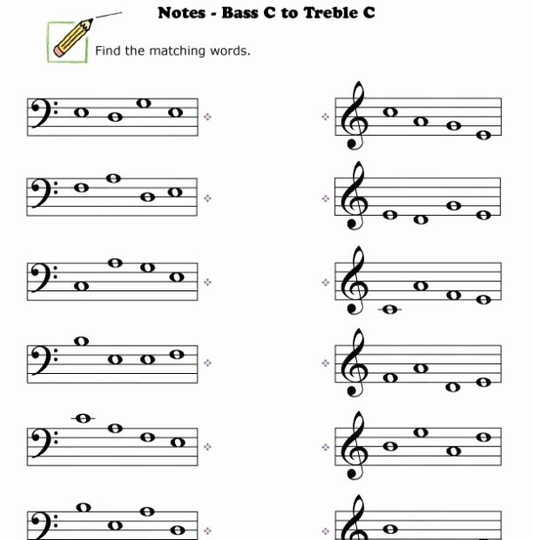 Treble Clef Notes Worksheet Luxury Bass Clef Worksheets