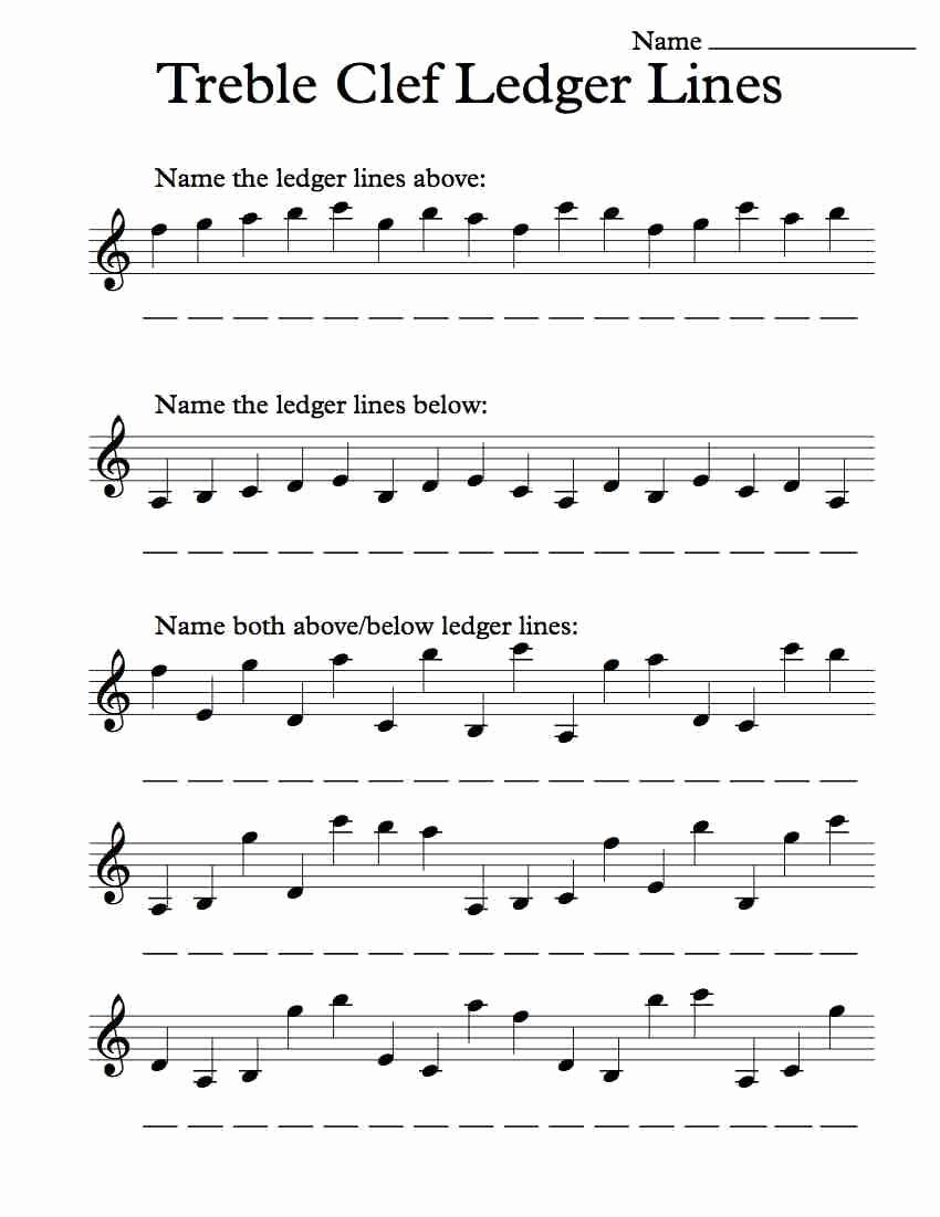 Treble Clef Notes Worksheet Luxury Treble Clef Ledger Lines – Worksheet