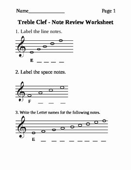 Treble Clef Notes Worksheet New Treble Clef Note Naming Worksheet by Rsklar