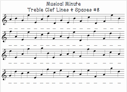 Treble Clef Notes Worksheet Unique Musical Minute