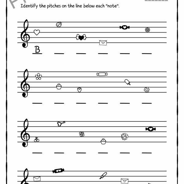 Treble Clef Notes Worksheet Unique Valentine S Day Treble Clef Note Reading Worksheets