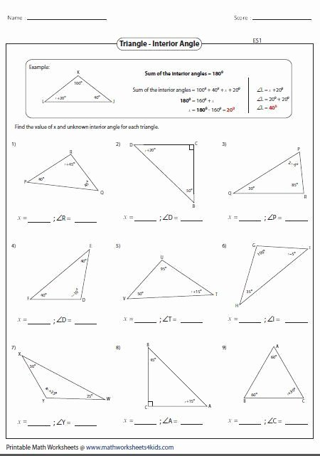 Triangle Angle Sum Worksheet Answers Awesome Sum Interior Angles A Triangle Worksheet Pdf