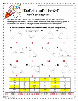 Triangle Angle Sum Worksheet Answers Elegant Geometry New Year Activity Triangle Sum theorem by Sine