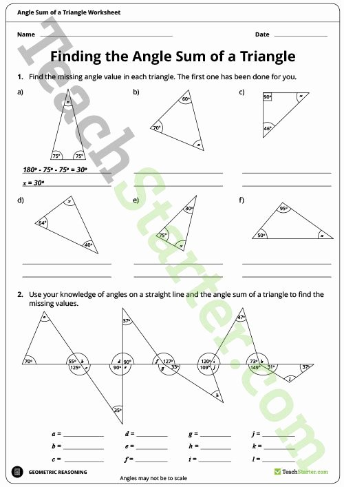 Triangle Angle Sum Worksheet Answers Luxury Finding the Angle Sum Of A Triangle Worksheet Teaching