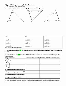 Triangle Angle Sum Worksheet Answers New Types Of Triangles and Angle Sum theorems with Answer Key
