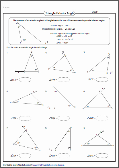 Triangle Angle Sum Worksheet Beautiful Sum Interior Angles A Triangle Worksheet Pdf