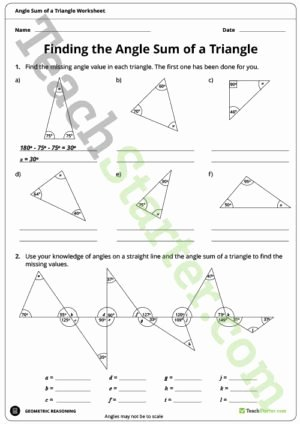 Triangle Angle Sum Worksheet Best Of Angle Sum Of A Triangle Poster Teaching Resource – Teach