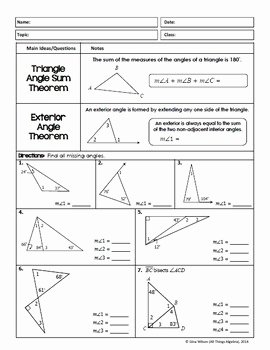Triangle Angle Sum Worksheet Elegant Congruent Triangles Geometry Unit 4 by All Things