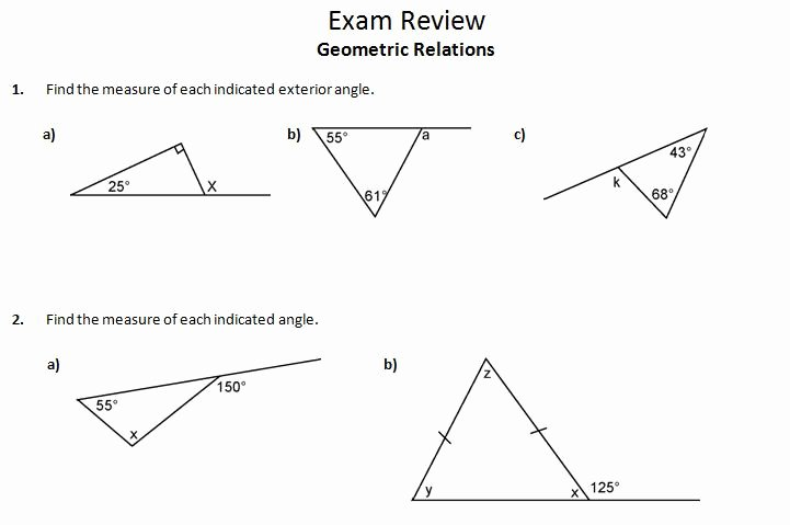 Triangle Angle Sum Worksheet Elegant Worksheet Triangle Sum and Exterior Angle theorem Answer