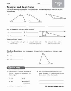 Triangle Angle Sum Worksheet Fresh Triangles and Angle Sums Practice Worksheet for 7th Grade