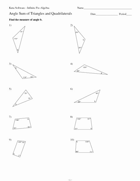 Triangle Angle Sum Worksheet Inspirational Angle Sum Of Triangles and Quadrilaterals Worksheet for