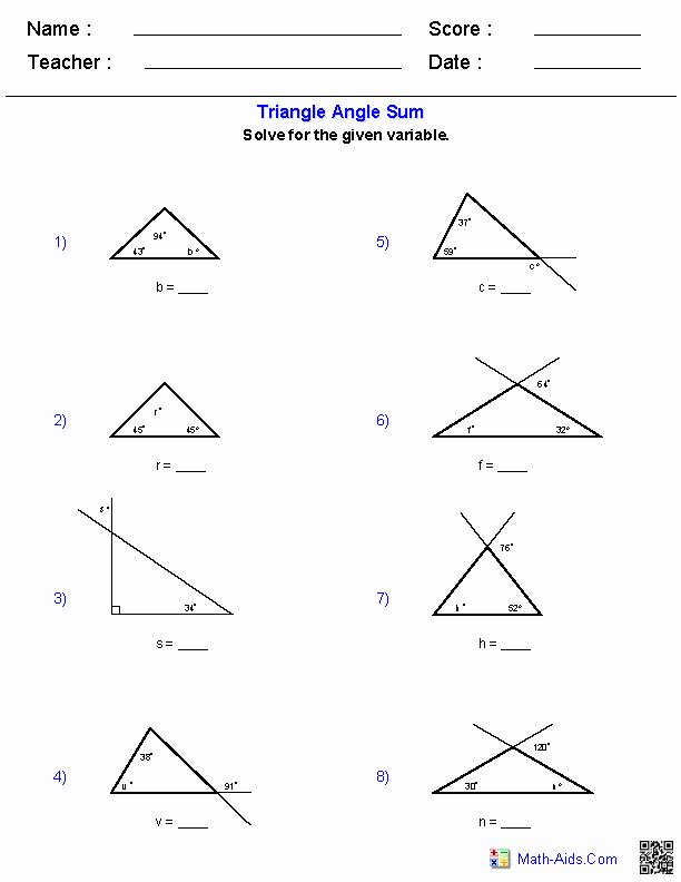 Triangle Angle Sum Worksheet Inspirational Geometry Worksheets