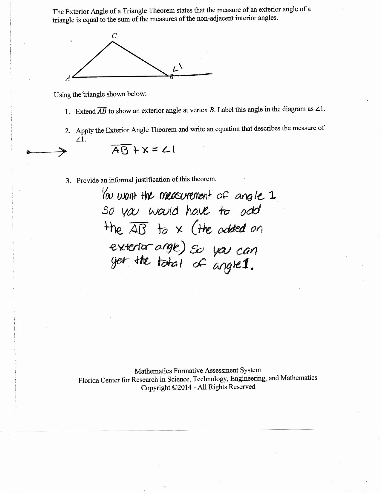 Triangle Angle Sum Worksheet Inspirational Justifying the Exterior Angle Of A Triangle theorem