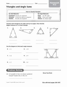 Triangle Angle Sum Worksheet Inspirational Triangles and Angle Sums Homework 14 5 Worksheet for 4th