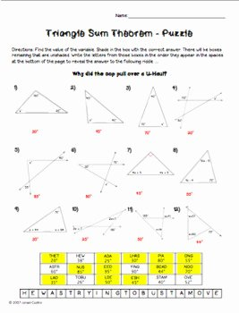 Triangle Angle Sum Worksheet Lovely Triangle Sum theorem Puzzle Worksheet by Mrs Castro S