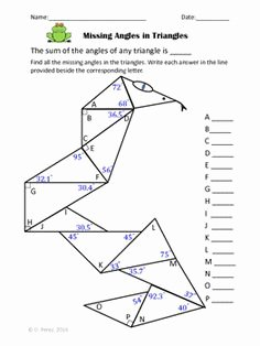 Triangle Angle Sum Worksheet Lovely Triangles Identifying and Finding Missing Angles