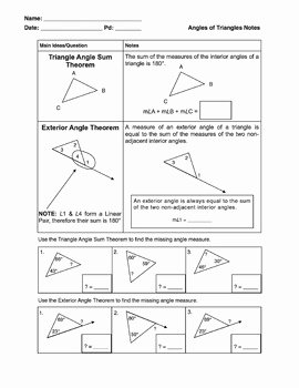 Angles of Triangles Notes Activity Triangle Angle Sum Exterior Angle Sum
