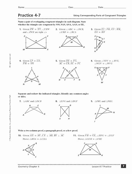 Triangle Congruence Proof Worksheet Lovely Using Corresponding Parts Of Congruent Triangles Worksheet