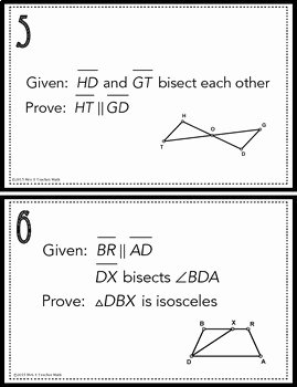 Triangle Congruence Proof Worksheet New Congruent Triangles Proofs Task Cards by Mrs E Teaches