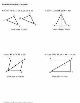 Triangle Congruence Proof Worksheet New Geometry Worksheet Triangle Congruence Proofs by My