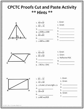 Triangle Congruence Proofs Worksheet Best Of Congruent Triangles and Cpctc Proofs Cut and Paste
