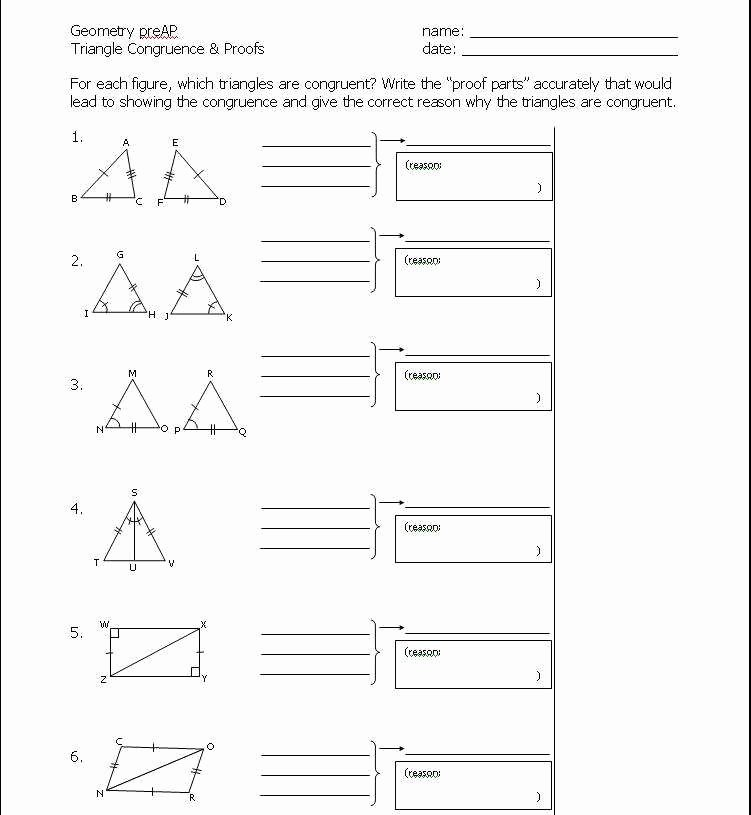 Triangle Congruence Proofs Worksheet Lovely Triangle Proofs Worksheet