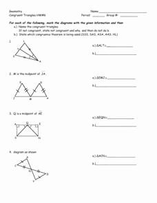 Triangle Congruence Worksheet Answer Key Awesome Geometry Congruent Triangles Hw 6 8th 10th Grade