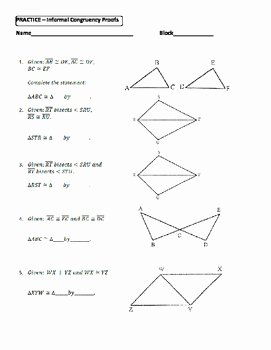 Triangle Congruence Worksheet Answer Key Fresh Geometry Unit 8 Congruent Triangles Informal Proofs Sss