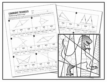 Triangle Congruence Worksheet Answer Key Inspirational Congruent Triangles Coloring Activity by All Things